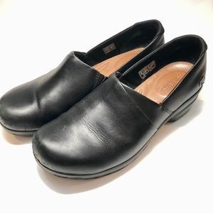 Black Leather Clogs by Keen